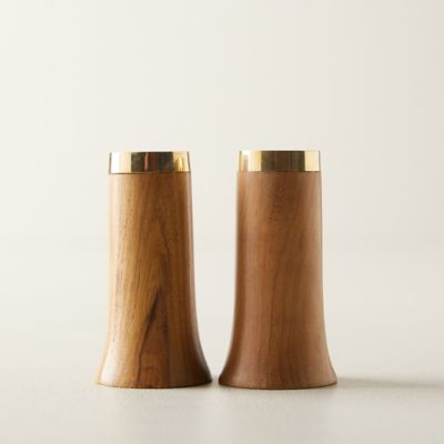 Gilded Edge Wood Salt + Pepper Shaker Set