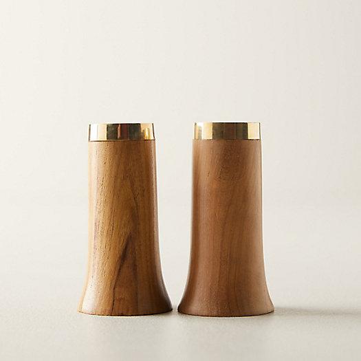 View larger image of Gilded Edge Wood Salt + Pepper Shaker Set