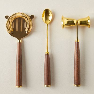 Gold + Teak Barware Tools, Set of 3