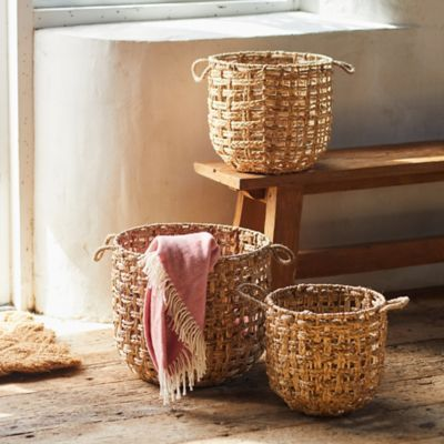 Woven Water Hyacinth Baskets, Set of 3