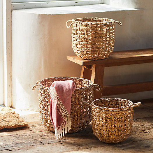 View larger image of Woven Water Hyacinth Baskets, Set of 3