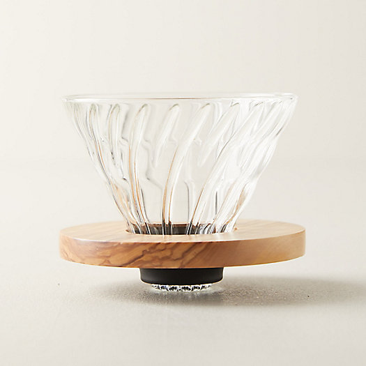 View larger image of Olive Wood Pour Over Coffee Brewer
