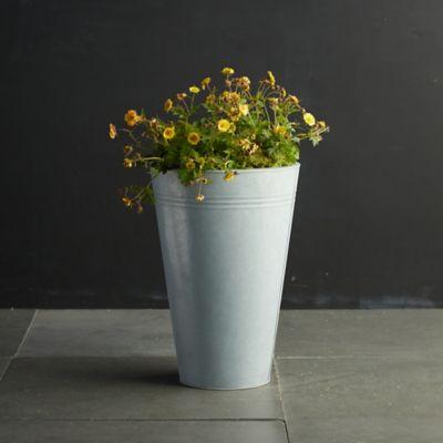 "Zinc Flower Bucket, 13"""