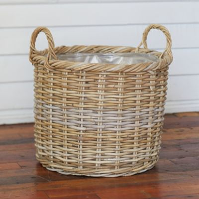 "Rattan Handle Basket Pot, 17"""