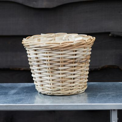 "Rattan Taper Basket Pot, 11"""