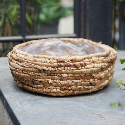 "Woven Basket Pot, Natural 15"""