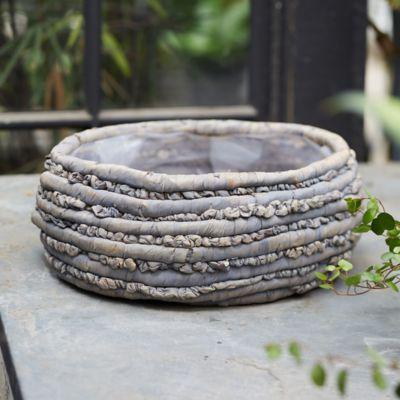 """Woven Basket Pot, Gray 15"""""""