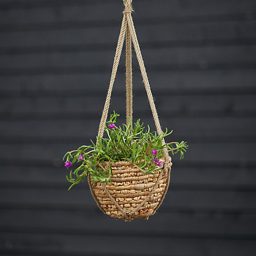 "View larger image of Woven Hanging Basket Pot, Natural 10"""