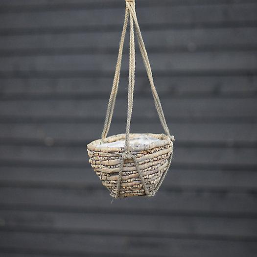 "View larger image of Woven Hanging Basket Pot, Gray 10"""