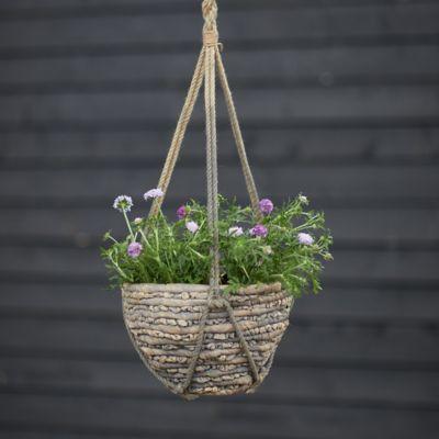 "Woven Hanging Basket Pot, Gray 12"""