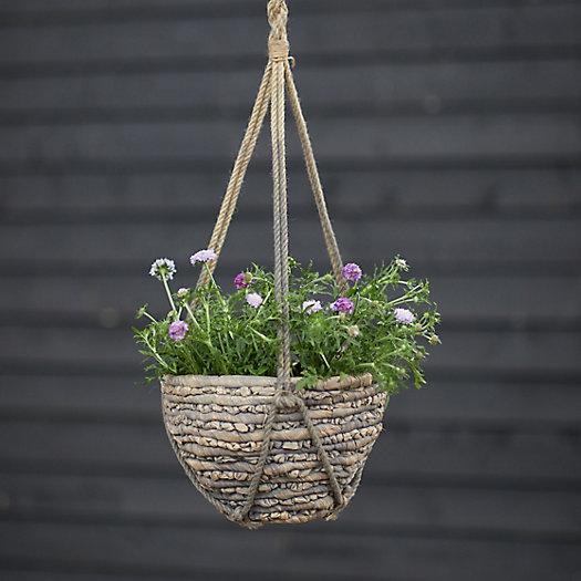 "View larger image of Woven Hanging Basket Pot, Gray 12"""