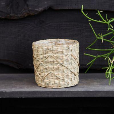 "Geo Seagrass Basket Pot, 5"""