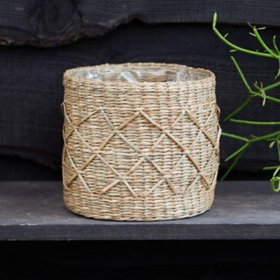 "Geo Seagrass Basket Pot, 7"""