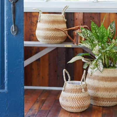 "Stripe Rattan Basket Pot with Handles, 10"""