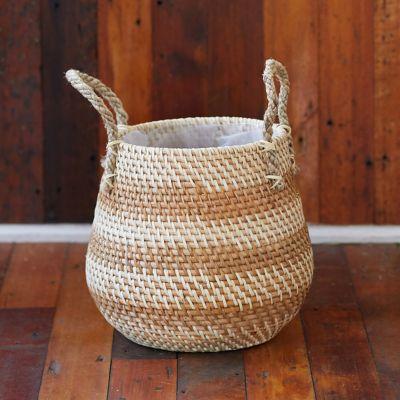 "Stripe Rattan Basket Pot with Handles, 11"""