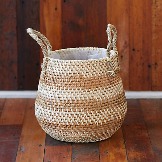 """View larger image of Stripe Rattan Basket Pot with Handles, 11"""""""