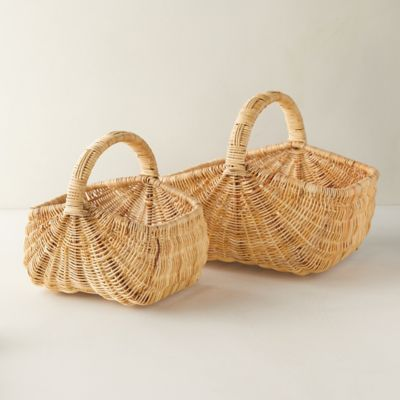Woven Rattan Basket with Handle