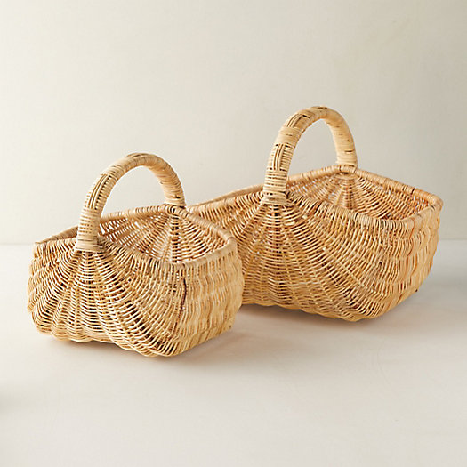 View larger image of Woven Rattan Basket with Handle