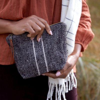 Wool Pouch, Charcoal Gray Stripe