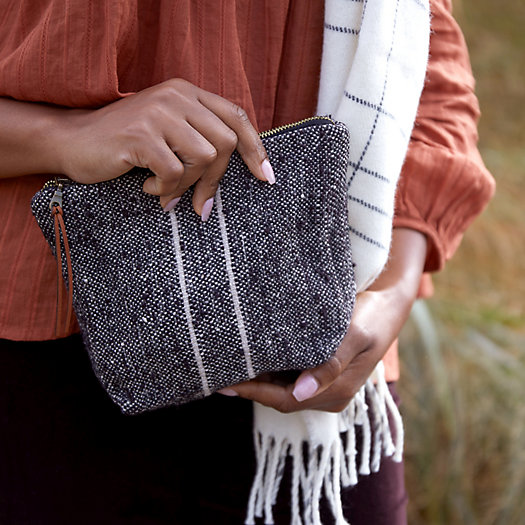 View larger image of Wool Pouch, Charcoal Gray Stripe
