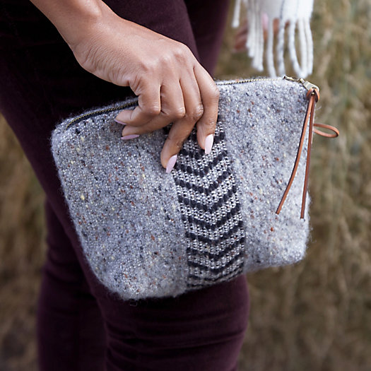 View larger image of Wool Pouch, Black Herringbone
