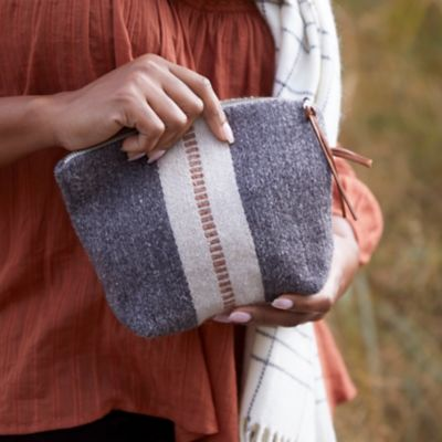 Wool Pouch, Orange Stripe