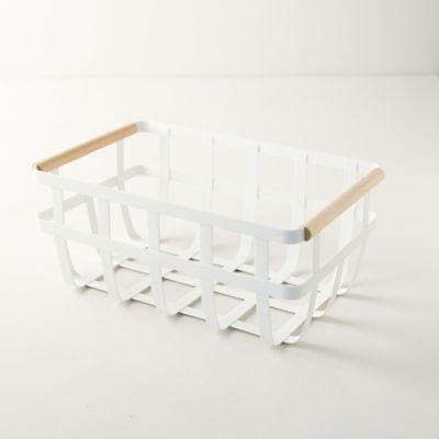 Wood Handle Steel Storage Basket