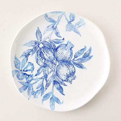 Blue Pomegranate Serving Platter, Round