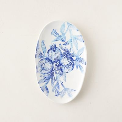 Blue Pomegranate Platter, Small Oval