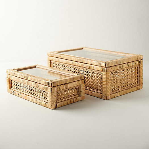 View larger image of Rattan Box with Glass Lid