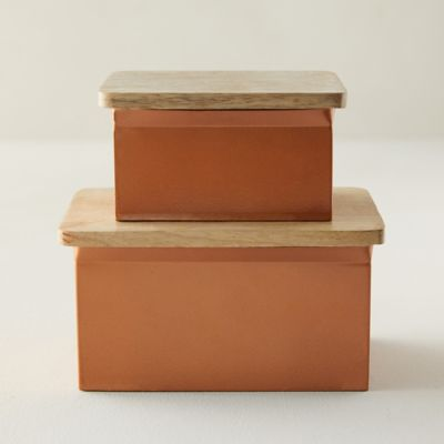 Copper Storage Box with Wood Lid
