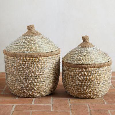Round Lidded Seagrass Basket