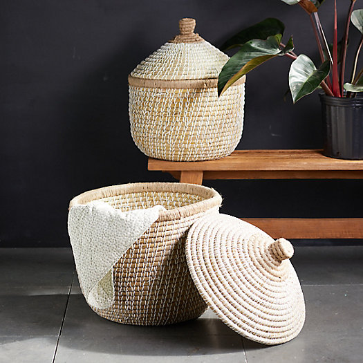 View larger image of Round Lidded Seagrass Basket
