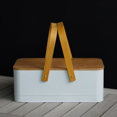 Steel + Bamboo Storage Bucket with Lid