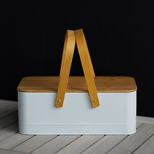 View larger image of Steel + Bamboo Storage Bucket with Lid