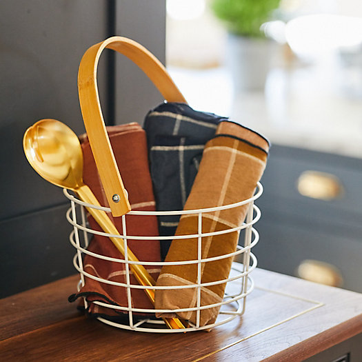 View larger image of Steel + Bamboo Wire Basket