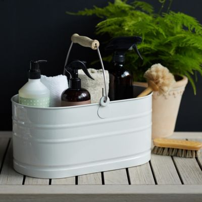 Steel Utility Bucket with Antique Brass Handle