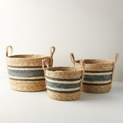 Woven Blue Stripe Baskets, Set of 3
