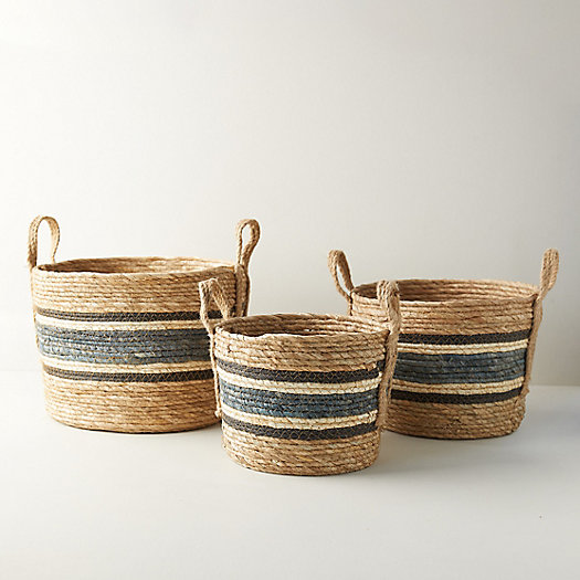 View larger image of Woven Blue Stripe Baskets, Set of 3