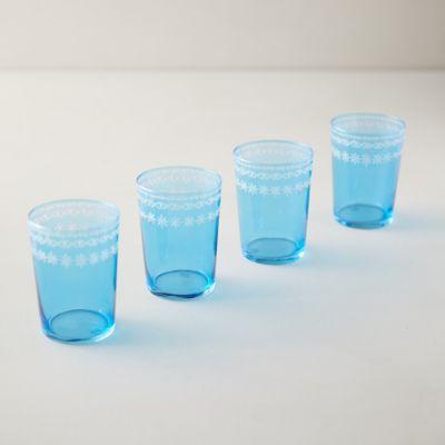 Floral Rim Glasses, Set of 4