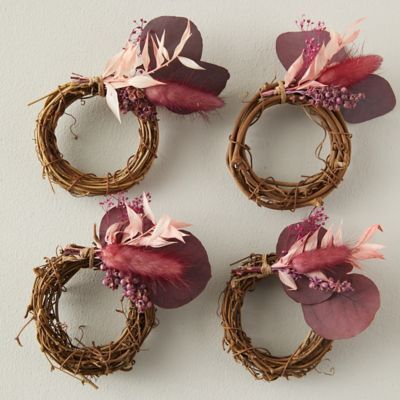 Dried Red Botanicals Napkin Rings, Set of 4
