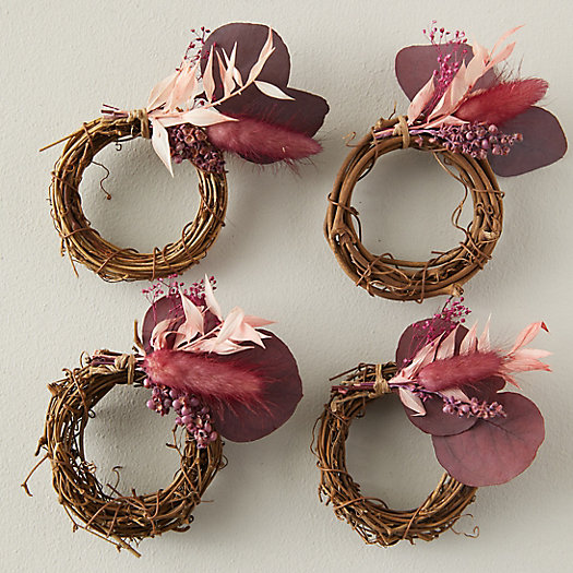 View larger image of Dried Red Botanicals Napkin Rings, Set of 4