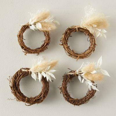 Dried Neutrals Napkin Rings, Set of 4