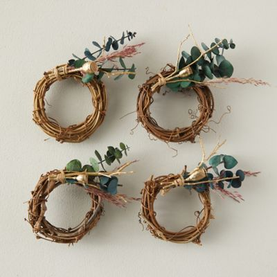 Dried Eucalyptus Napkin Rings, Set of 4