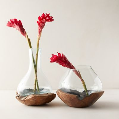 Recycled Glass Vase on Teak Wood Stand