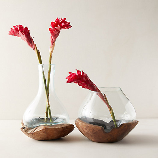 View larger image of Recycled Glass Vase on Teak Wood Stand