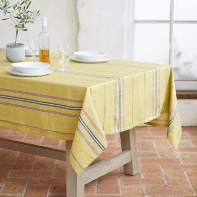 Yellow Stripe Linen Tablecloth