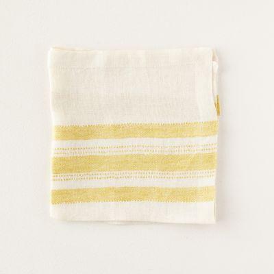 Yellow Stripe Linen Napkin