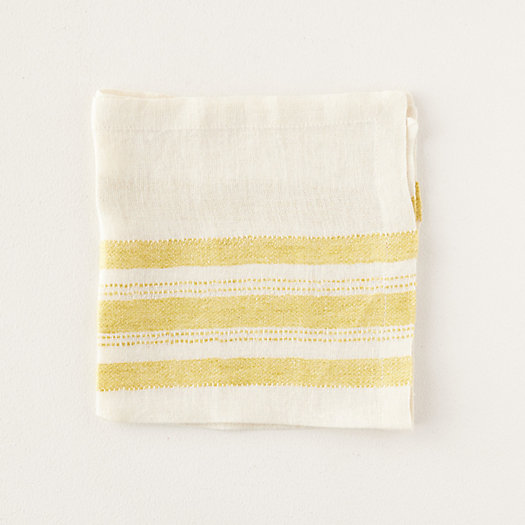 View larger image of Yellow Stripe Linen Napkin