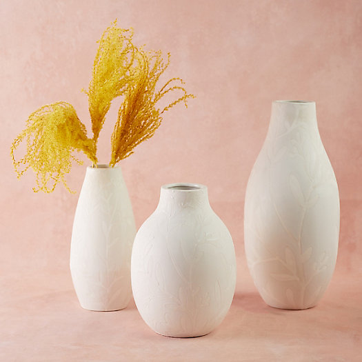 View larger image of Floral Matte White Vase